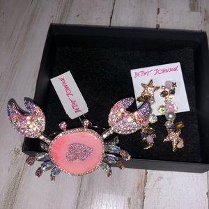 NWT Betsey Johnson Jewelry Set, Cuff & Earrings
